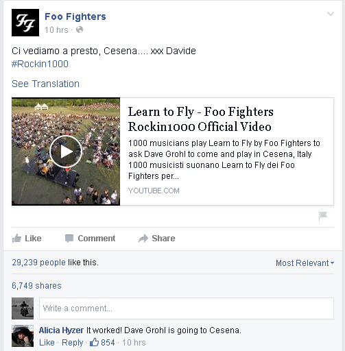 Foofighters - Cesena - Facebook